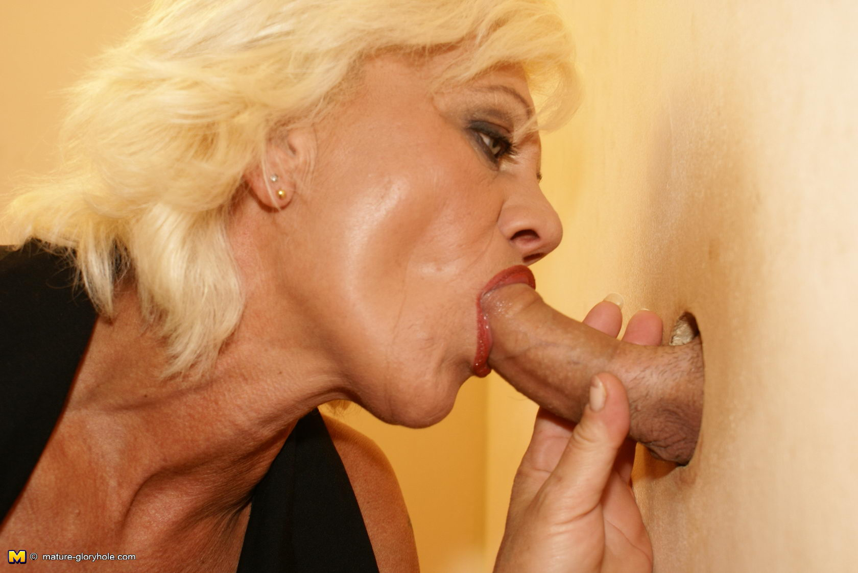 Messy mature glory hole blowjobs