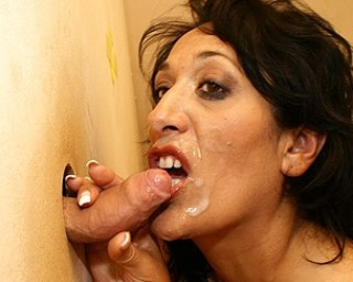 Horny mature Bernice loves what's peeping through the hole